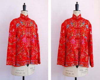 Vintage 1960s Chinese hand embroidered floral and bird red silk jacket - Embroidered silk floral robe - Vintage silk jacket - Oriental Coat