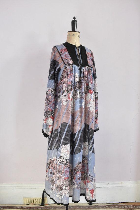Vintage 1970s Indian floral geometric metallic co… - image 5