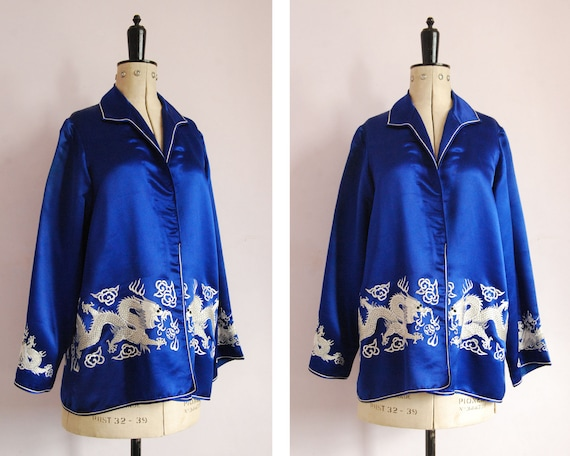 Vintage 1920s 1930s embroidered dragon blue silk b