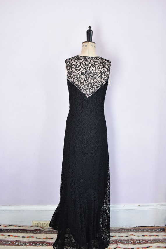 Vintage 1930s black floral lace ruffle bias cut g… - image 8