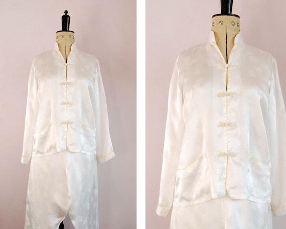 Vintage 1960s Chinese white damask rayon silk sati