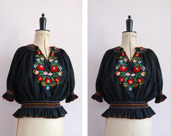 Vintage 1960s 70s Hungarian embroidered black blou