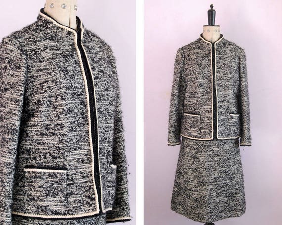Vintage 1960s Tweed boucle wool jacket and skirt s