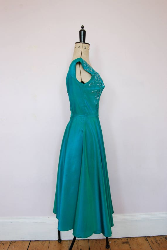 Vintage 1950s iridescent teal satin ball gown - 5… - image 6