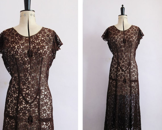 Vintage 1930s Chocolate brown floral lace bias cut