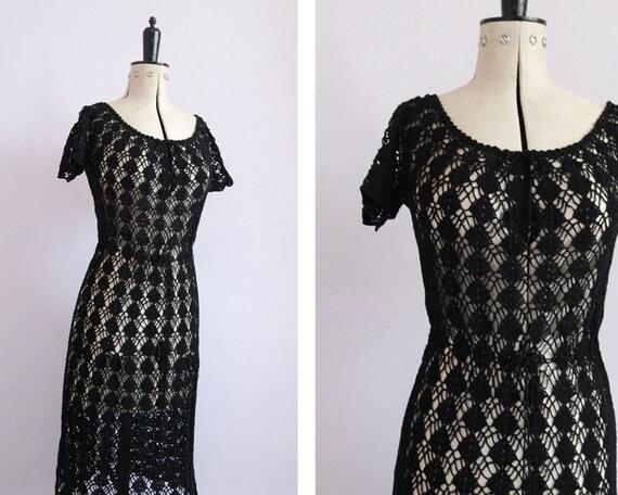 Vintage 1970s Crochet black cotton sheer midi dres
