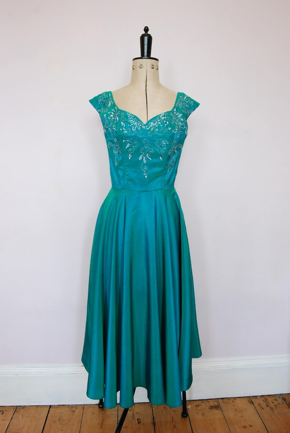 Vintage 1950s iridescent teal satin ball gown - 5… - image 2