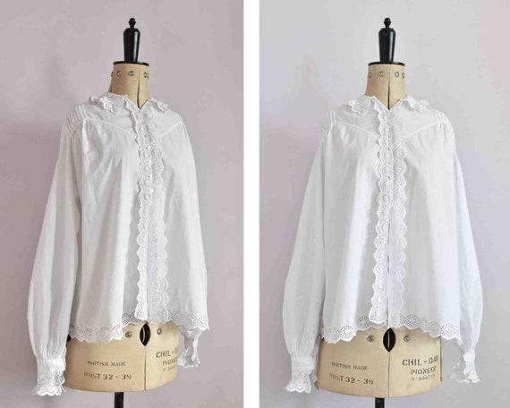 Antique Victorian Edwardian floral lace white cott