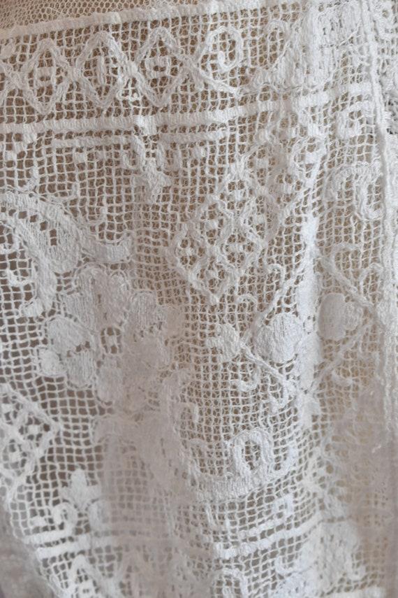 Antique Victorian white filet lace net blouse top… - image 6