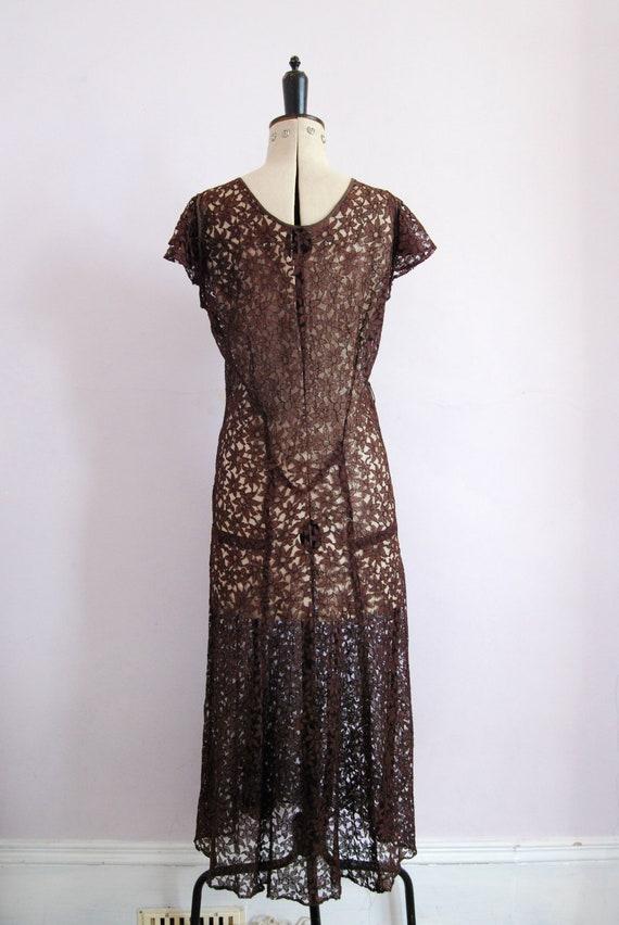 Vintage 1930s Chocolate brown floral lace bias cu… - image 9