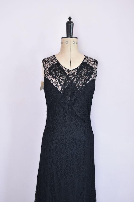 Vintage 1930s black floral lace ruffle bias cut g… - image 3