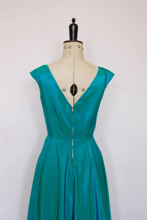 Vintage 1950s iridescent teal satin ball gown - 5… - image 8