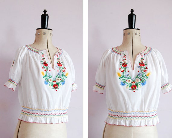 Vintage 1960s 70s 30s style embroidered Hungarian
