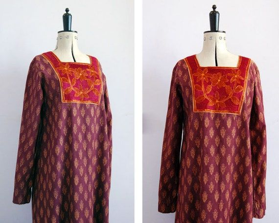Vintage 1970s Indian cotton block print dress - Hi