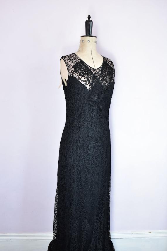 Vintage 1930s black floral lace ruffle bias cut g… - image 5