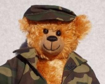 "OOAK Mohair Bear - ""Private Boomer"""