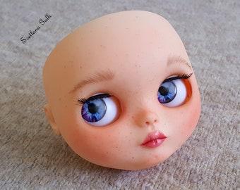 Blythe custom faceplate carving Blythe custom doll ooak