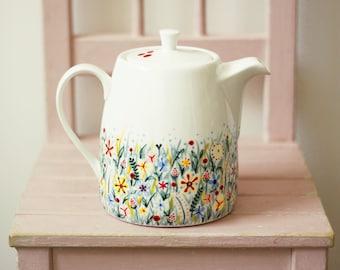 Ceramic teapot - Hand painted - wildflowers in spring meadow