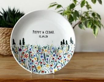 Personalised Decorative Ceramic Plate - Custom hand painted decorative ceramic plate - Wildflowers