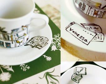 Personalised cup and saucer -  Book - A - Holic
