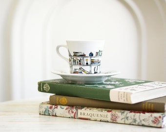 Hand painted porcelain cup and saucer -  Book - A - Holic