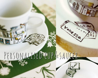 Personalised cup and saucer - Porcelain - Book - A - Holic