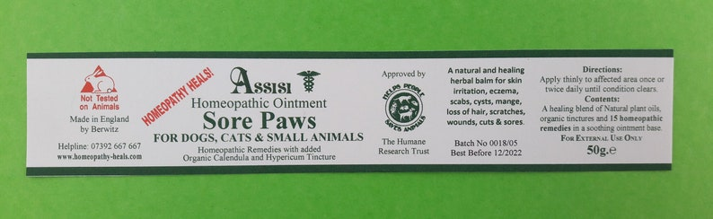Assisi SORE PAWS Healing Ointment - HOMEOPATHY for Dogs,  Cats,Horses,Rabbits & Small Animals, Sore Pads and Paws and other areas