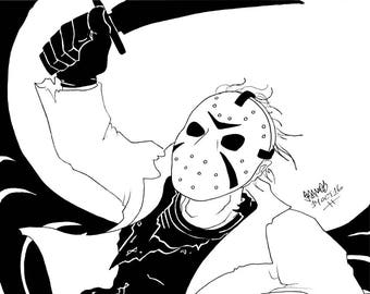 Friday the 13th, Jason Voorhees, Original Ink Drawing