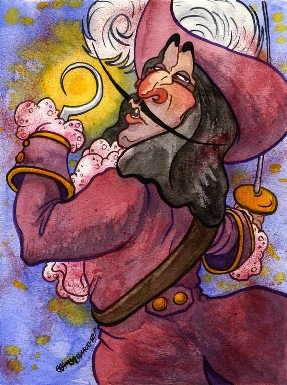 Captain Hook Disney Peter Pan Original Watercolor Painting | Etsy