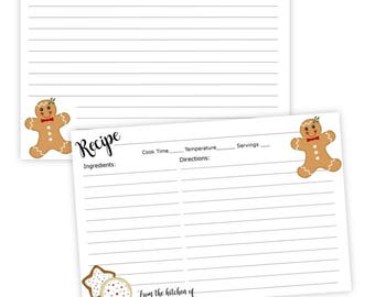recipe card christmas cookies gingerbread man diy printable template 4x6 instant download pdf holiday recipe card