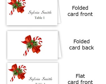 folded table tent flat place card templates pine cones etsy
