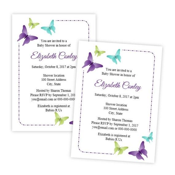 Schmetterlinge-Baby-Dusche druckbare Einladung | Etsy
