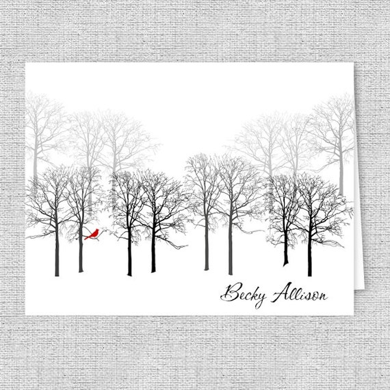 Winter Trees Folded Note Cards Set of 10 Font Choice Personalized Gift Personalized Note Cards Stationery Red Bird in the Forest