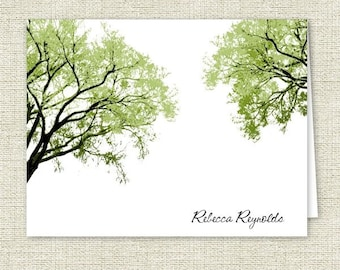 Spring Trees 2 Note Cards - Personalized Stationery - Set of 10