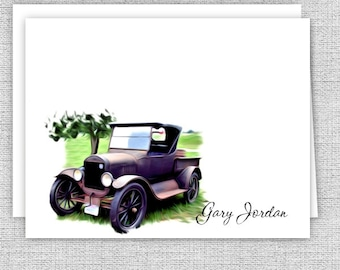 Antique Car Note Cards - Set of 10 - Personalized Stationery for Men