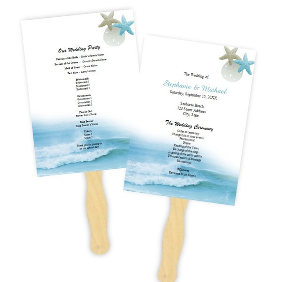 wedding program fan template ocean waves fans diy etsy
