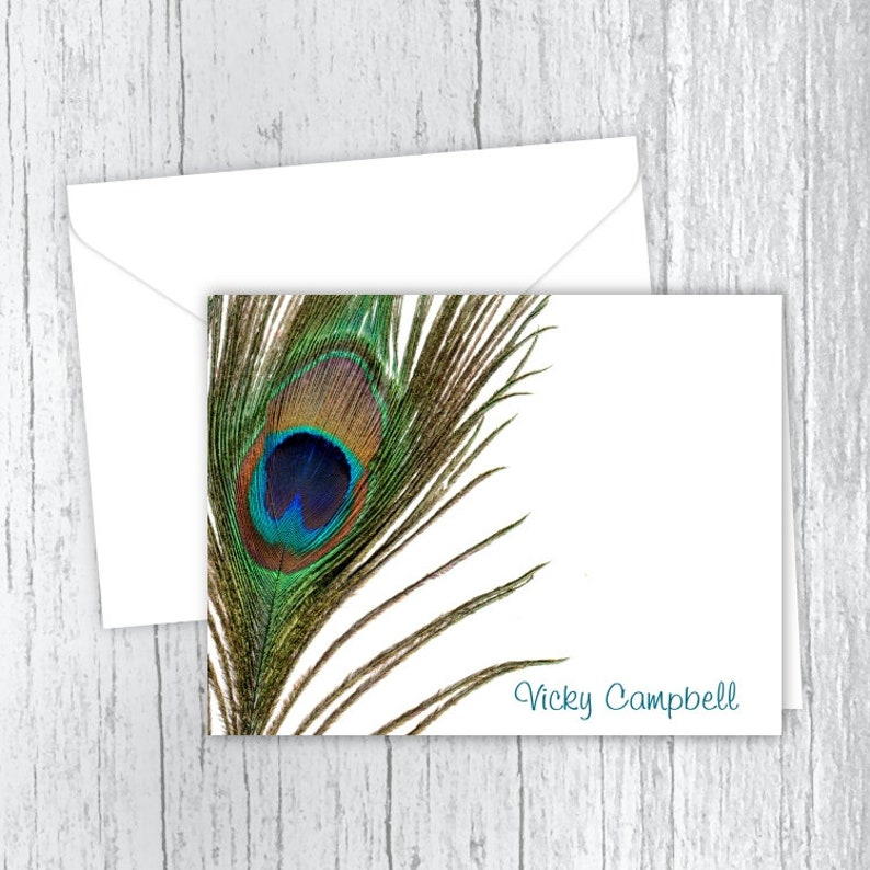 Peacock Feather Printed Note Cards Set of 10 Note Cards Personalized Gift Personalized Stationery PF2 Folded Note Cards