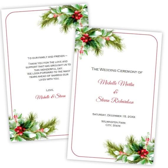 Folded Wedding Program Template Christmas Holly Diy Etsy