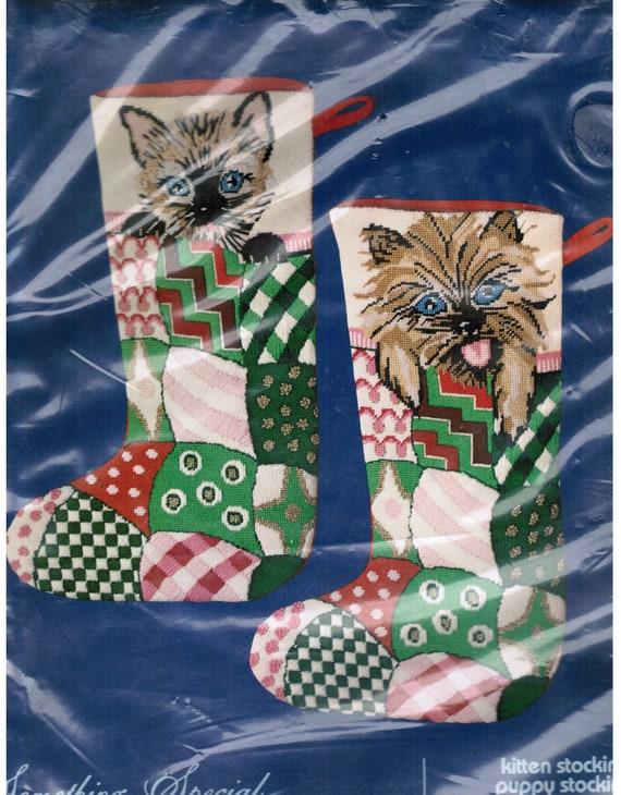 Needlepoint Christmas Stocking Kit.Cat Christmas Stocking Kitten Needlepoint Christmas Stocking Christmas Cat Stocking Kit