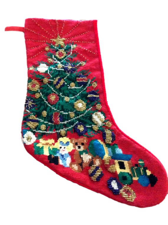 Vintage Needlepoint Christmas Stockings.Vintage Needlepoint Christmas Stocking Beaded Christmas Stocking Holiday Decor