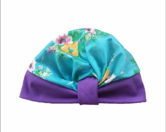 50eb5c1b594 Vintage 60s Colorful Resort Floral Print Stretch Knot Front Turban Cloth  Head Wrap Powder Room Beauty Purple Turquoise Beach Hat