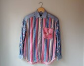 Vintage 90s Pearl Snap Button up Front Patchwork Floral Gingham Denim Western Shirt Women 39 s Size Medium Petite