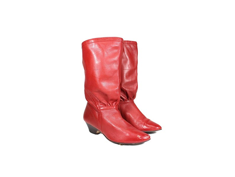 3f11cd81ea552 Size 6.5 Red Leather Mid Calf 80's Boots // Tie Back Slip On Boots // Pull  On Mid Calf Read Leather Boots with Low Heel // VINT060