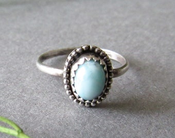 Sterling Silver Larimar Ring, Dainty Ring, Ocean Ring, Dominican Republic Ring, Size 5.5 Ring,Rings for Skinny Fingers, Gifts for Her