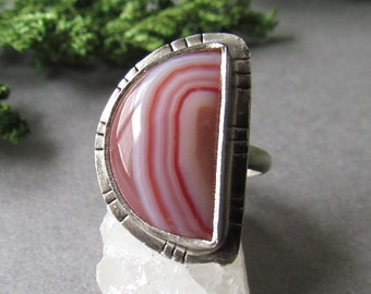 Sterling Silver Botswana Agate Ring, Moon Ring, Half Moon Ring, Size 8 Ring, Unique Gifts, Boho Bohemian Ring, Gifts for Her, Moon Gift