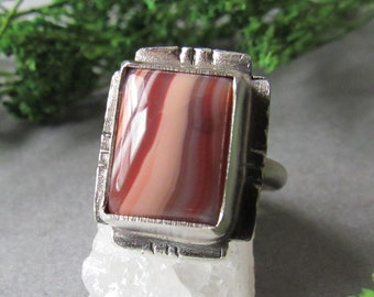 Sterling Silver Botswana Agate Ring, Square Ring, Red Rock Ring, Bohemian Ring, Boho Ring, Earthy Ring, Gifts for Her, Size 6.5 Ring