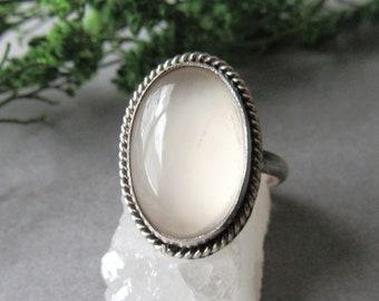 Sterling Silver Moonstone Ring, Milky Moonstone Ring, Size 6.5 Ring, Boho Ring, Bohemian Ring, Gifts for Her, White Ring