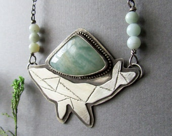 Sterling Silver Blue Whale Necklace, Amazonite Stone, Marine Life, Gifts for Marine Biologists, Geometric Whale, Animal Lovers, Ocean Jewelr