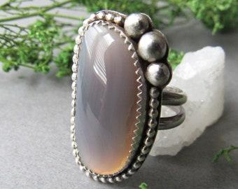 Sterling Silver Botswana Agate Ring, Gray Grey Ring, Statement Ring, Size 8 Ring, Boho Ring, Bohemian Ring,