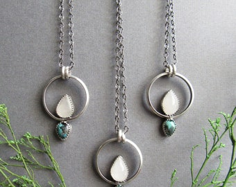 Sterling Silver Moonstone and Turquoise Necklace, Bohemian Necklace, Boho Necklace, Bohemian Jewelry, Boho Jewelry, Unique Jewelry, Gifts